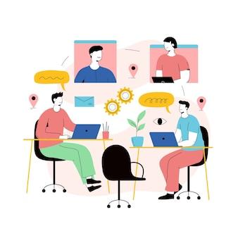 Personas que trabajan juntas en una startup.