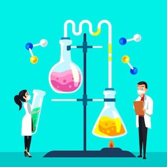 Personas que trabajan en un laboratorio de ciencias.