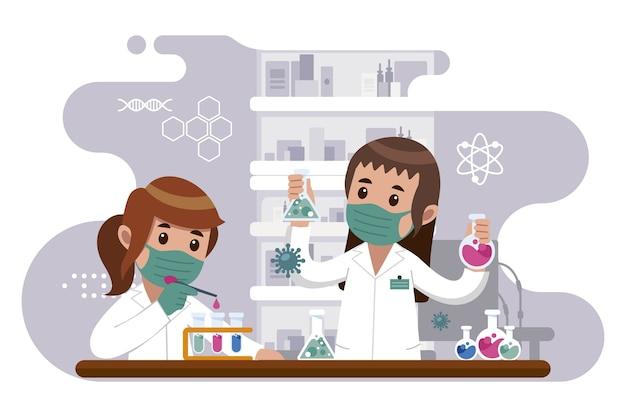 Personas que trabajan en el laboratorio de ciencias.