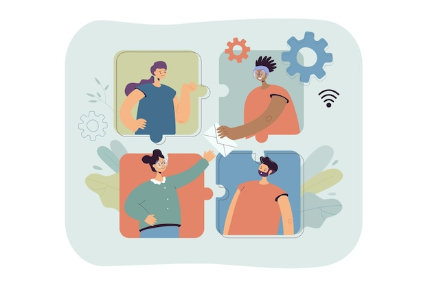 Personas que trabajan en línea en equipo.