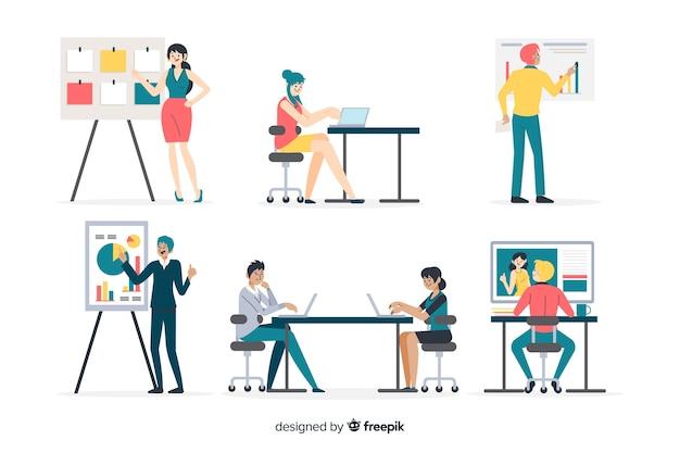 Personas que trabajan en la oficina de diseño plano