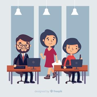 Personas que trabajan en la oficina.