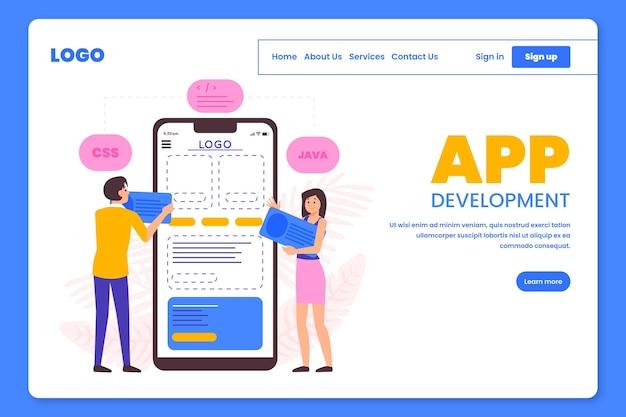 Personas que trabajan en la página de destino del desarrollo de aplicaciones.