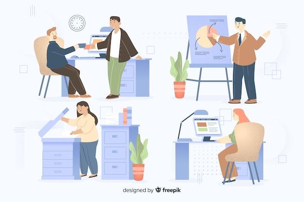 Personas que trabajan en el set de oficina