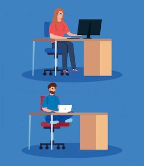 Personas que trabajan teletrabajando con laptop en escritorios