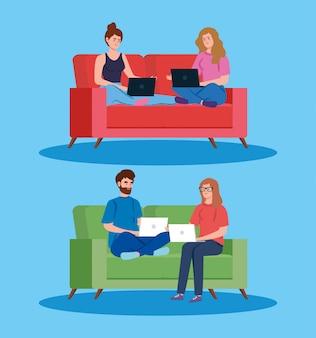 Personas que trabajan en teletrabajo con laptop en sofás