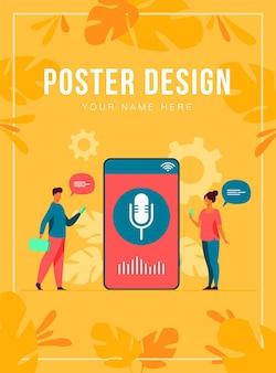 Personas que usan la aplicación de asistente de voz en un teléfono inteligente con altavoz en la pantalla. ilustración para tecnología de sonido, ai, interfaz inteligente, concepto de desarrollo de software
