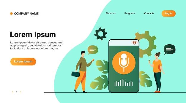 Personas que usan la aplicación de asistente de voz en un teléfono inteligente con altavoz en pantalla