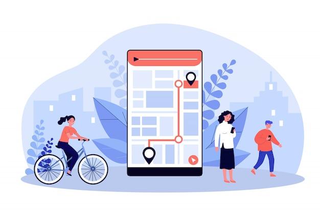 Personas que usan la aplicación móvil con mapa de la ciudad