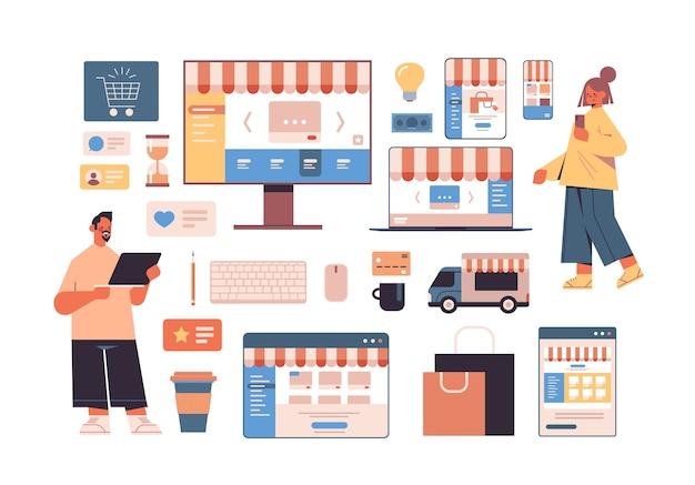 Las personas que usan aplicaciones de compras en línea en dispositivos digitales, los iconos de negocios en internet establecen el concepto de marketing digital de comercio electrónico
