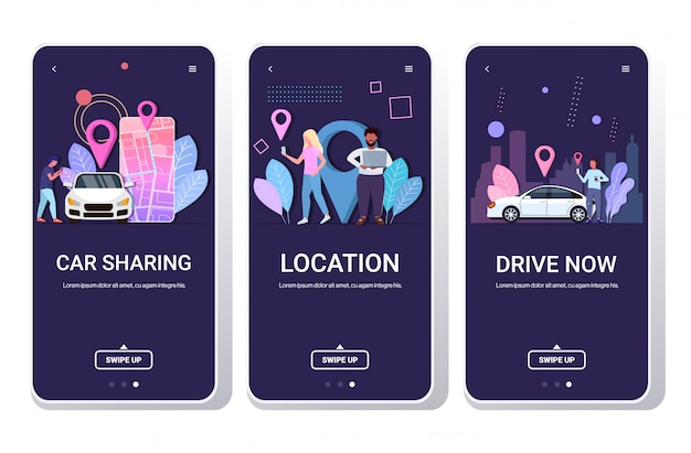 Las personas que usan aplicaciones móviles que solicitan en línea el servicio de taxis compartiendo el transporte, la ubicación, el concepto de navegación, la ruta y los puntos en el mapa de la ciudad, las pantallas del teléfono inteligente establecen un espacio de copia horizontal de longitud completa