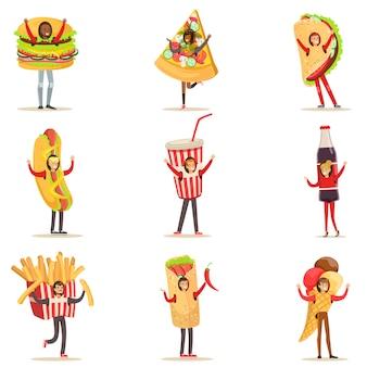 Las personas que usan bocadillos de comida rápida disfraces disfrazados de elementos de menú de cafetería conjunto de personajes de dibujos animados