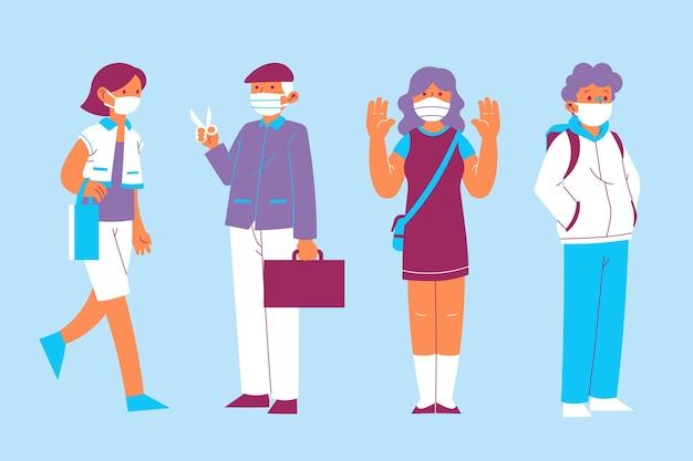 Las personas que usan la colección de máscaras médicas