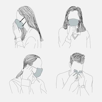Personas que usan conjunto de elementos de diseño de mascarillas médicas protectoras