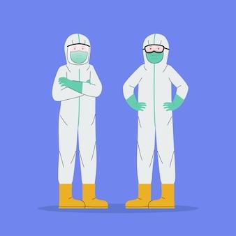 Personas que usan dibujos animados de traje de materiales peligrosos