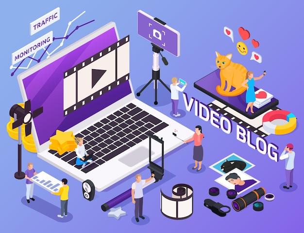 Personas que usan equipos para tomar fotos, hacer videos y mantener la composición isométrica del blog, ilustración 3d