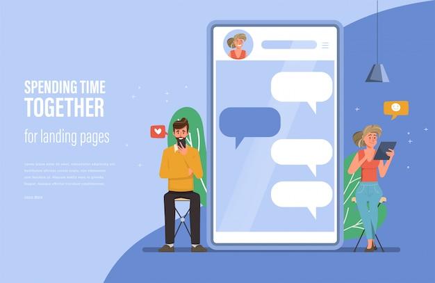 Las personas que usan gadgets para chatear fondo de comunicación de redes sociales. chat en línea con novia y novio.