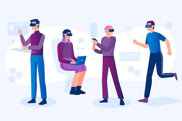 Personas que usan gafas de realidad virtual.