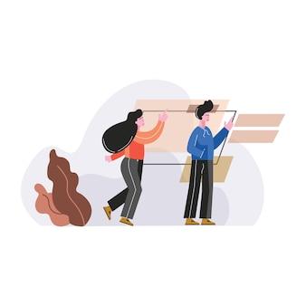 Personas que usan la ilustración de vector de pantalla táctil