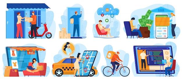Personas que usan ilustraciones de servicios en línea, personajes de dibujos animados que compran en línea, pagan dinero de transferencia, solicitan productos de entrega