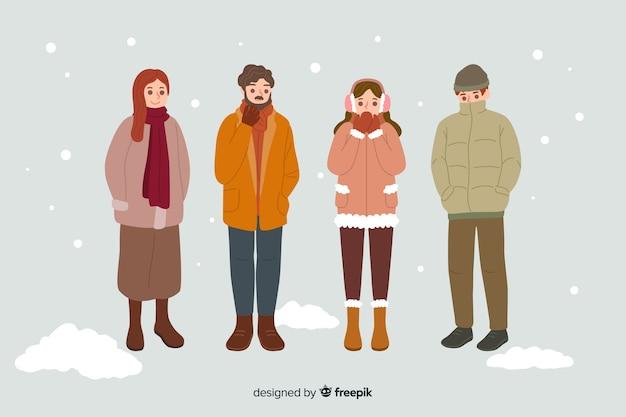 Las personas que usan ropa abrigada de invierno