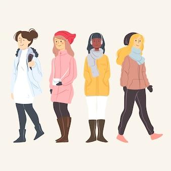Las personas que usan ropa de invierno establecen ilustración