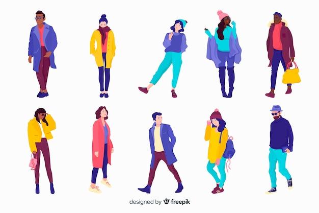 Las personas que usan ropa de invierno sobre fondo blanco.