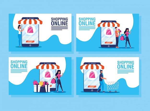 Personas que usan tecnología de compras en línea