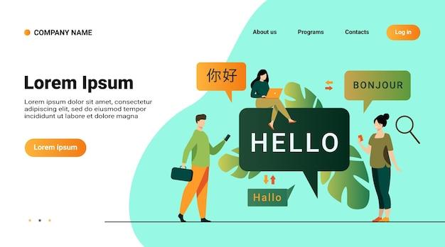 Personas que utilizan la aplicación de traducción en línea, traducen palabras de idiomas extranjeros con servicio móvil
