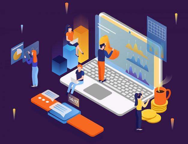 Las personas que utilizan computadoras y dispositivos electrónicos de comunicación interconectan sistemas para el intercambio de información de análisis de datos
