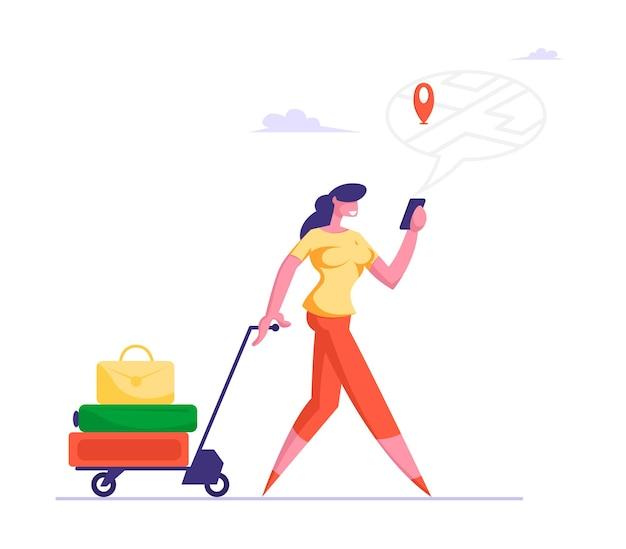 Personas que utilizan el concepto de aplicación de navegación en línea gadget mujer tirando de la carretilla con equipaje