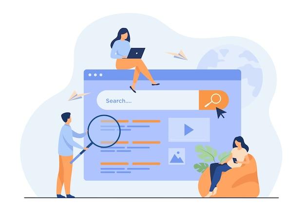 Personas que utilizan el cuadro de búsqueda para consultas, motor dando resultado.