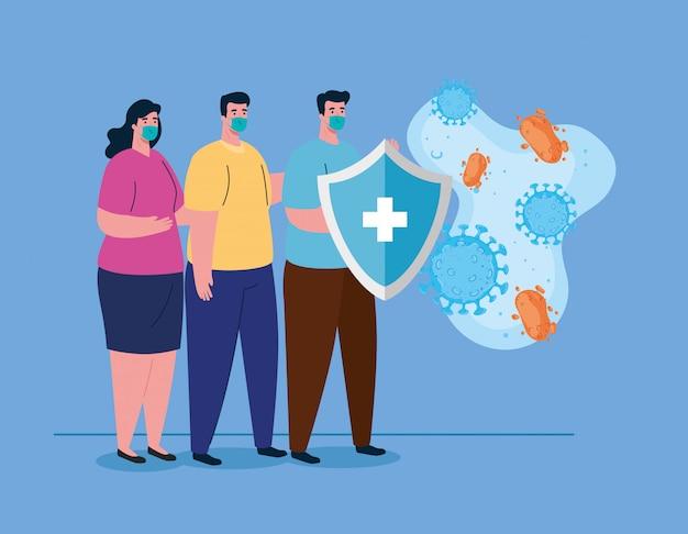 Personas que utilizan mascarillas quirúrgicas protectoras para, escudo con partículas contra coronavirus, protección de la salud y seguridad