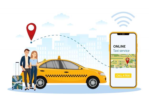 Las personas que utilizan el pedido en línea de coche taxi comparten el concepto de aplicación móvil. pedidos en línea de taxis, alquiler y uso compartido mediante la aplicación móvil de servicio.