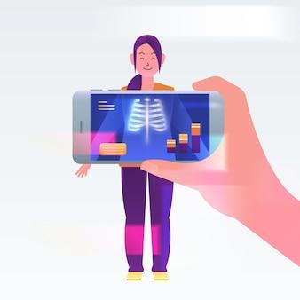 Personas que utilizan realidad aumentada en teléfonos inteligentes