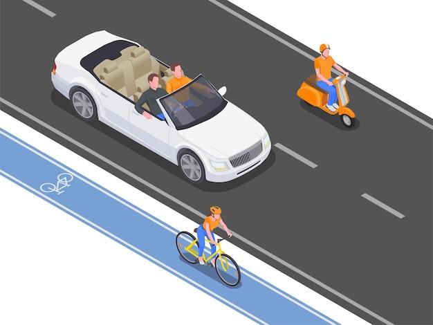 Personas que utilizan transporte personal conduciendo y montando en carretera y carril bici 3d isométrico
