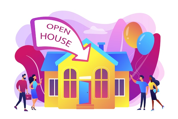 Personas que van a personajes planos de fiesta de inauguración. casa abierta, propiedad abierta para inspección, bienvenido a su nuevo hogar, concepto de servicio inmobiliario. ilustración aislada violeta vibrante brillante