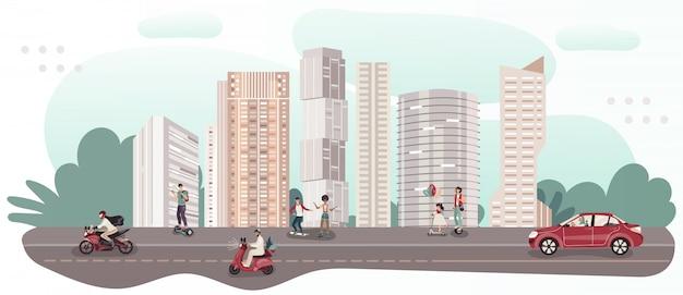 Las personas que viajan diferentes transportes en la ciudad moderna, ilustración