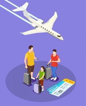 Personas que viajan con equipaje y tarjetas de embarque composición isométrica con avión en violeta