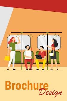 Personas que viajan en metro o ilustración vectorial plana subterránea. dibujos animados sentados y de pie en el tren del metro de la ciudad. transporte público y concepto de viaje.