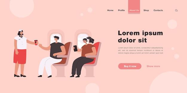Personas que viajan en la página de aterrizaje de un avión en estilo plano.