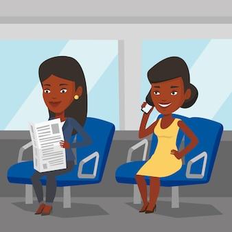 Personas que viajan en transporte público.