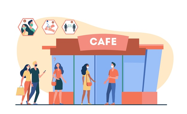 Personas que vienen al café durante la pandemia de coronavirus.