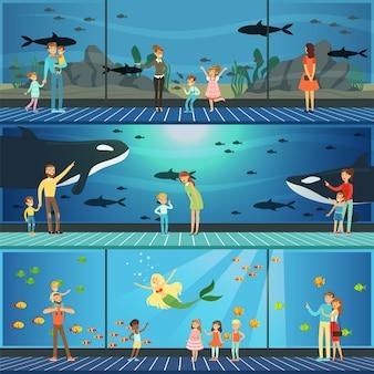 Personas que visitan un conjunto de ilustraciones de oceanario, padres con niños viendo paisajes submarinos con animales marinos en oceanario gigante