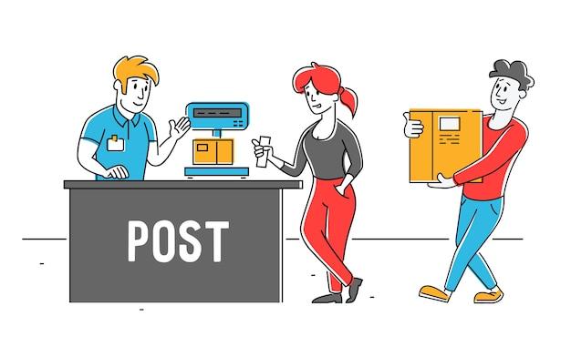 Personas que visitan la oficina de correos