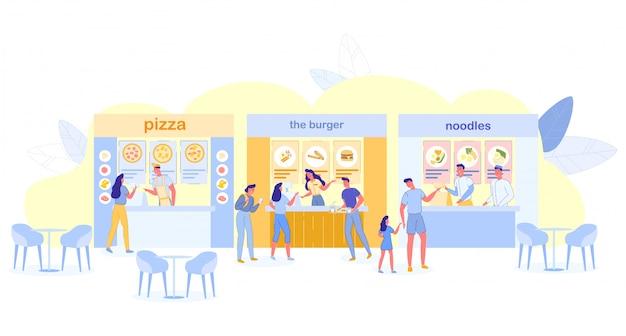 Personas que visitan el patio de comidas para comprar comida, cafetería