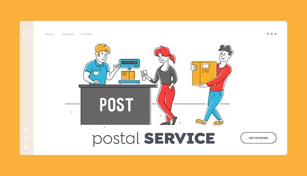 Personas que visitan la plantilla de página de destino de la oficina de correos