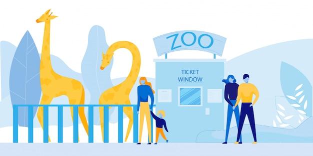 Personas que visitan el zoológico con animales salvajes africanos
