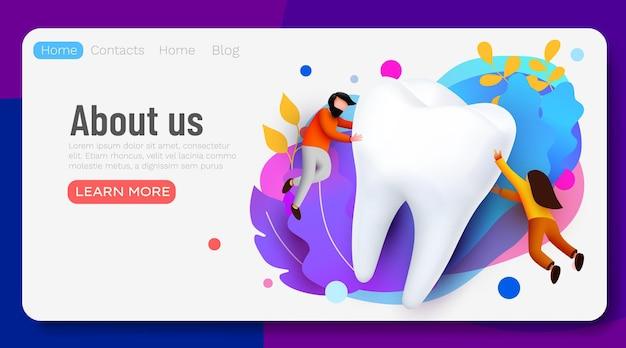 Personas que vuelan alrededor de la encuesta en línea de presentación de banner de página web de cuidado de dientes de clínica dental de dientes grandes con personajes