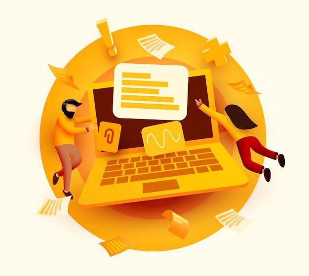 Personas que vuelan alrededor de un gran servicio de computadora portátil o una encuesta en línea de presentación de banner de página web de concepto de desarrollo con personajes